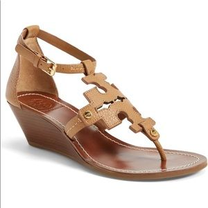 Tory Burch Chandler brown leather wedge sandals